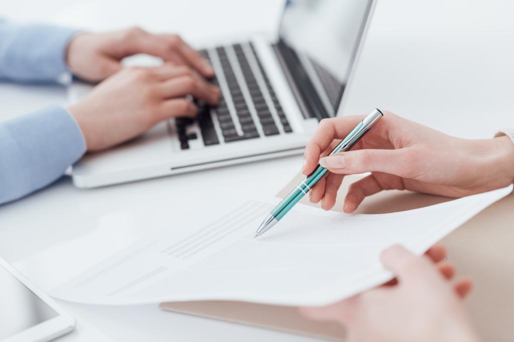 Employer reviewing recruitment assessments